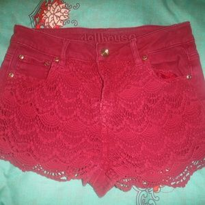 DOLLHOUSE LACE AND DENIM SHORTS SIZE 8